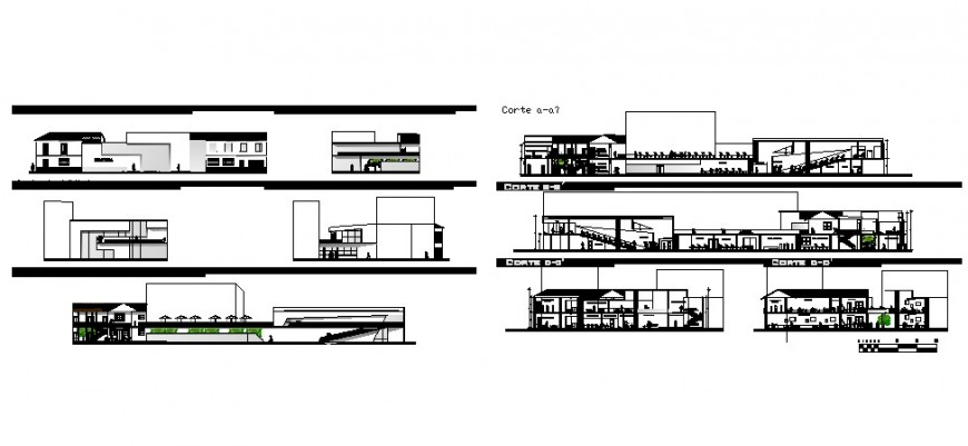 Library with education institution all sided elevation and section drawing details dwg file