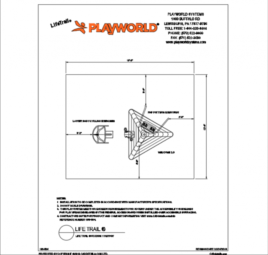 Life trail station play equipment for garden details dwg file