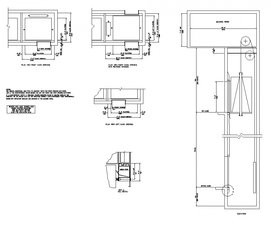 Lift and elevator detail elevation layout 2d view autocad file