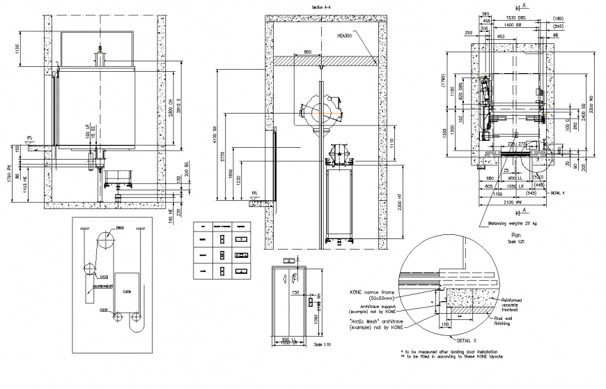 Lift and elevators detail structure layout file