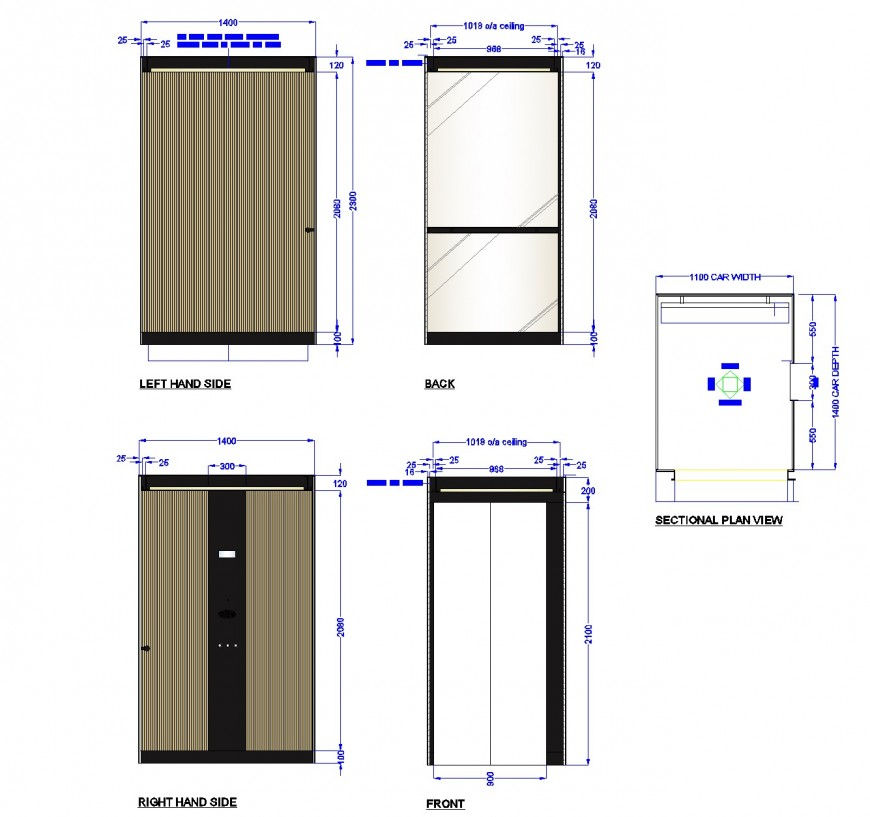 Lift car design elevation and section layout file