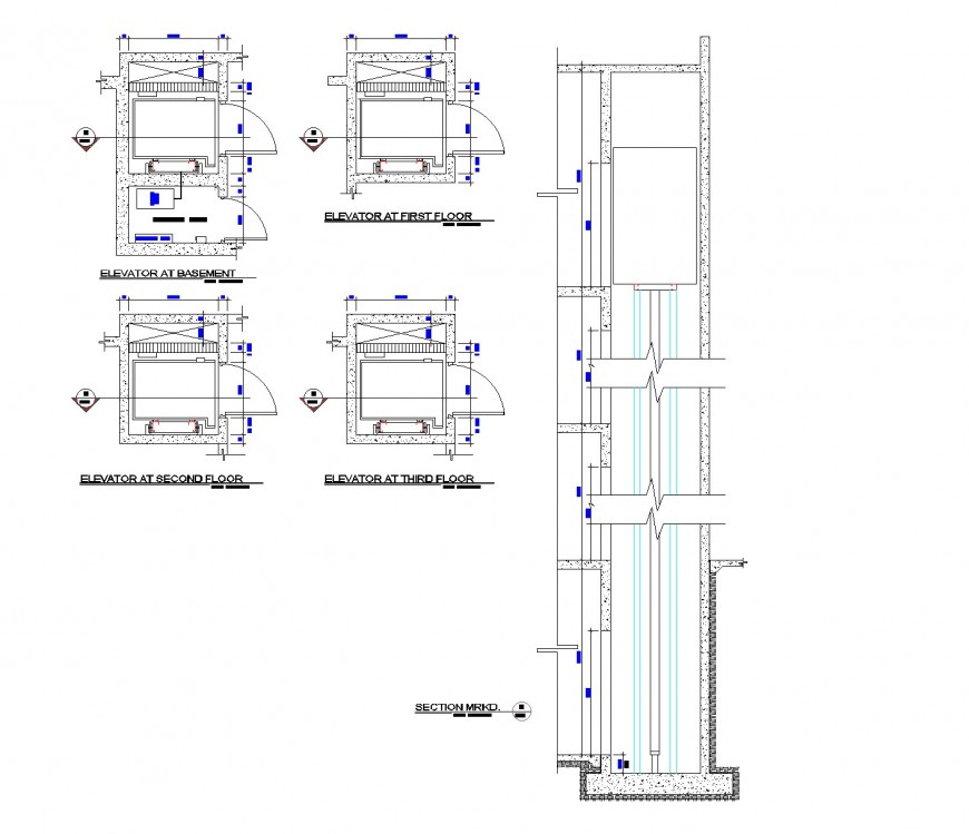 Lift Design elevation and section autocad file