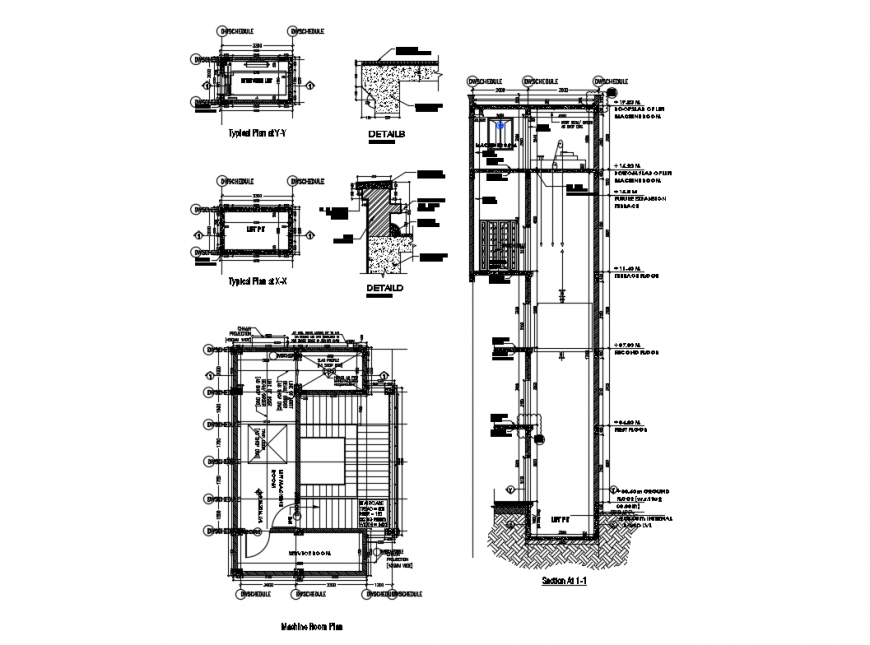 Lift details of multi story apartment building dwg file