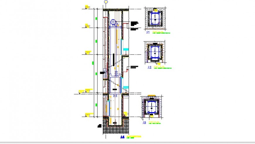 Lift elevator section and installation drawing details of club house dwg file