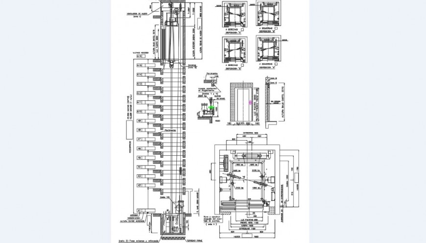 lift elevators section, installation and engine room details dwg file