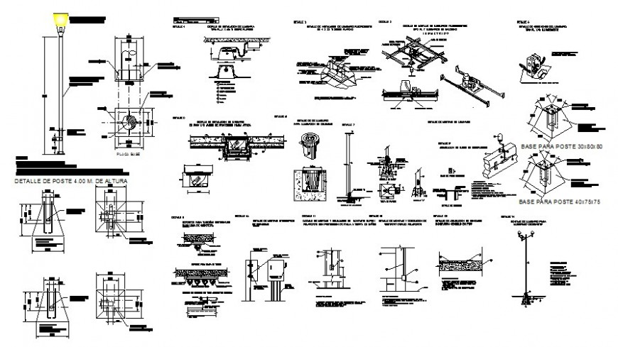 Light-pole installation and garden furniture and landscaping automation drawing details dwg file