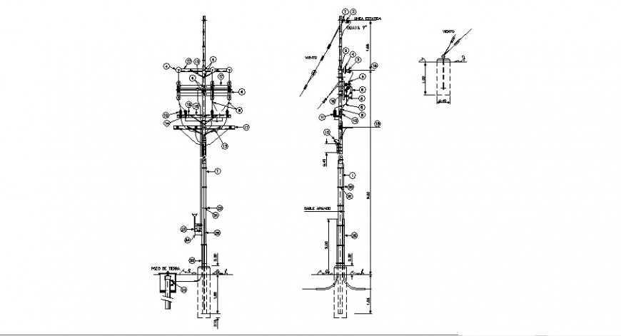 Light pole section and electric installation cad drawing details dwg file