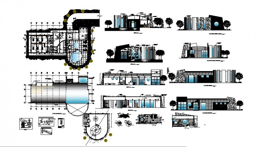 Linca hotel of peru elevation, section, floor plan and auto-cad details dwg file
