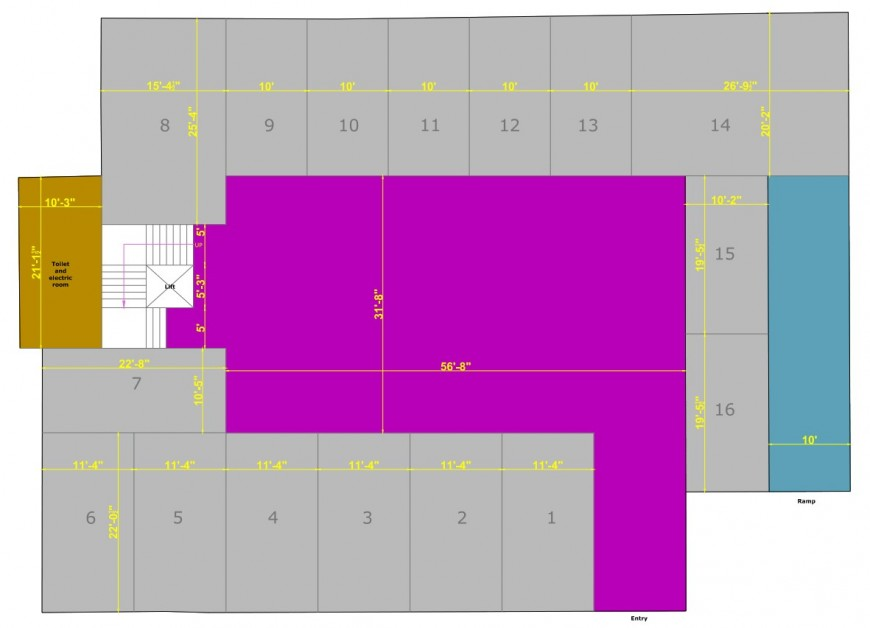 Line plan detail of hotel building 2d view pdf file