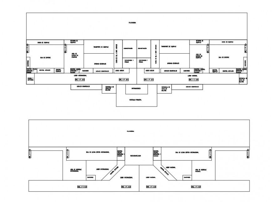Line plan of airport terminal building 2d view layout file in dwg format