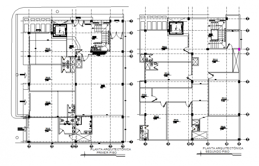 Lions club office two floor distribution plan cad drawing details dwg file