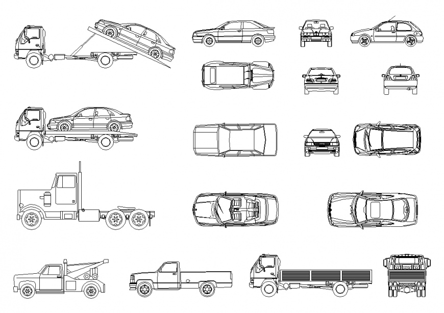 List of Cars detail elevation layout 2d view autocad file