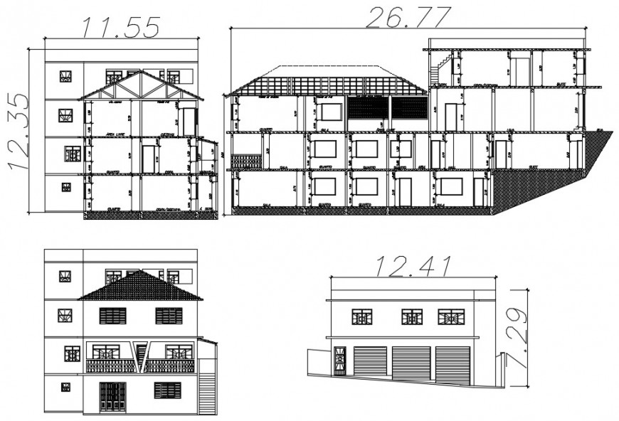 Living apartment drawings elevation and section dwg file