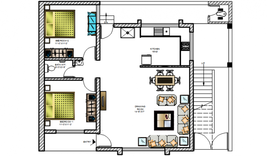 Living area and bedroom detailing plan dwg file