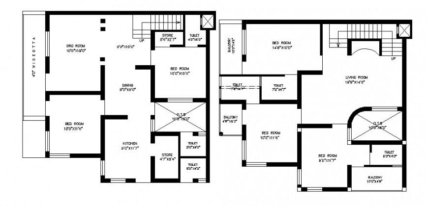 Living area floor plan in AutoCAD file