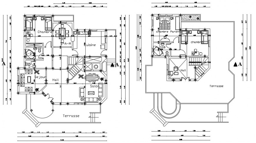 Living housing bungalow CAD plan drawings in autocad software file