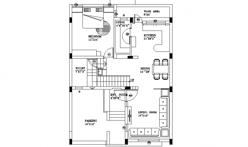 Living place house plan layout file