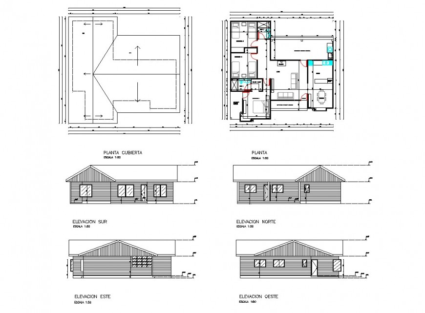 Living place plan and elevation detail dwg file
