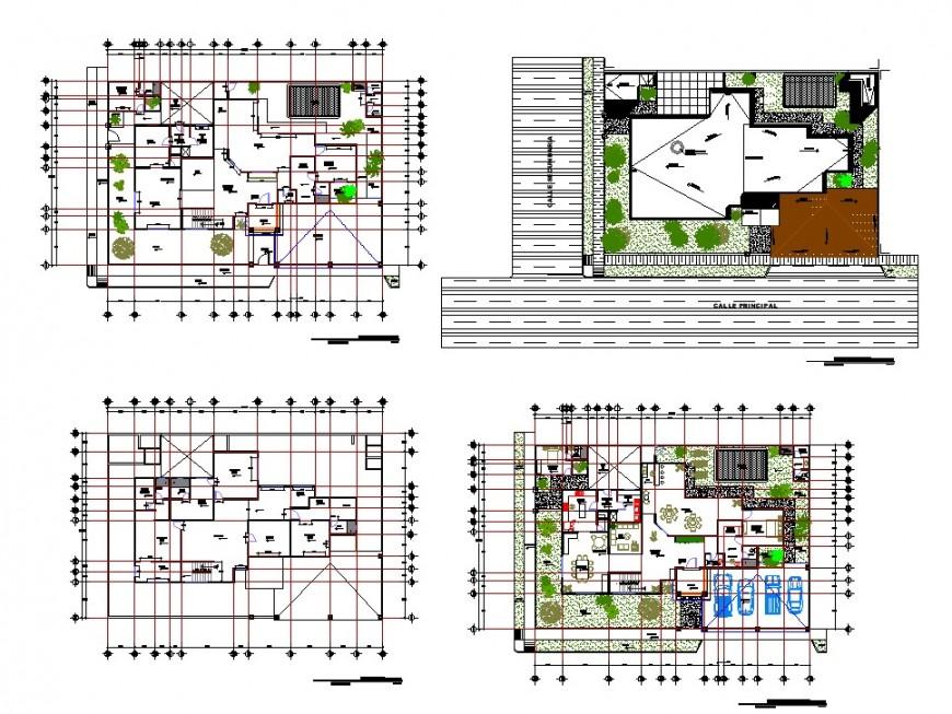 Living place working plan detail dwg file