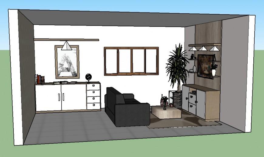 Living room interior detail 3d model layout sketch-up file