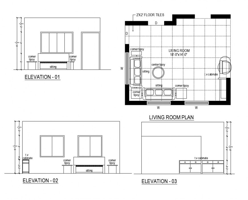 Living room plan elevation detail of a house dwg file