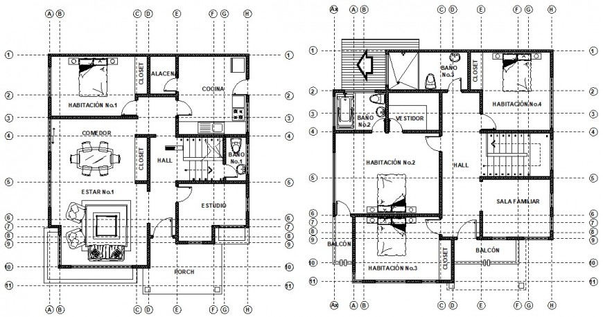 Living two-story apartment drawings 2d view plan in autocad file