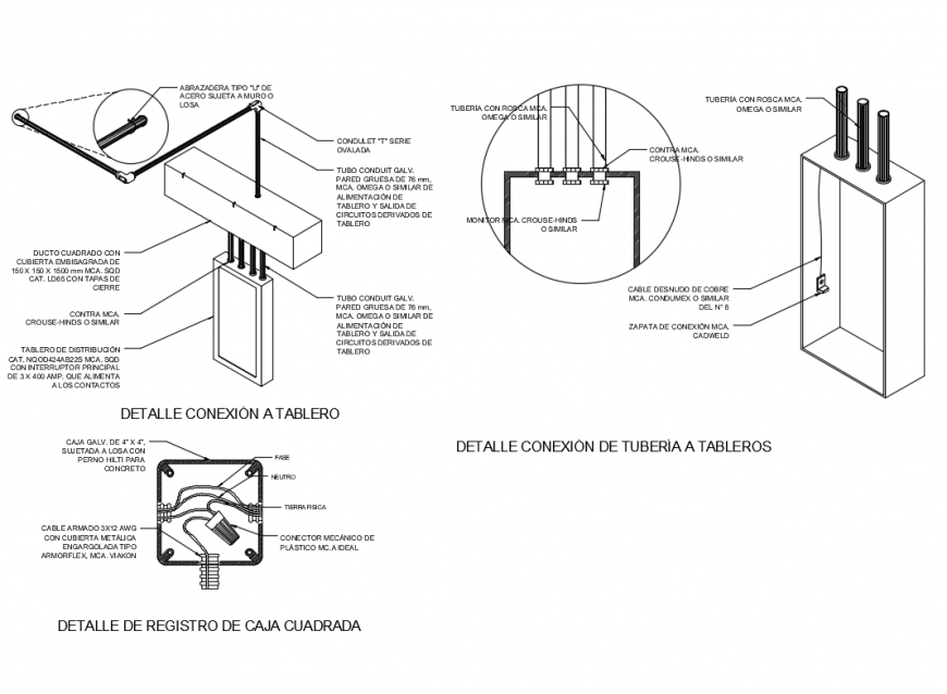 Load center details of registration and electric box installation cad drawing details dwg file
