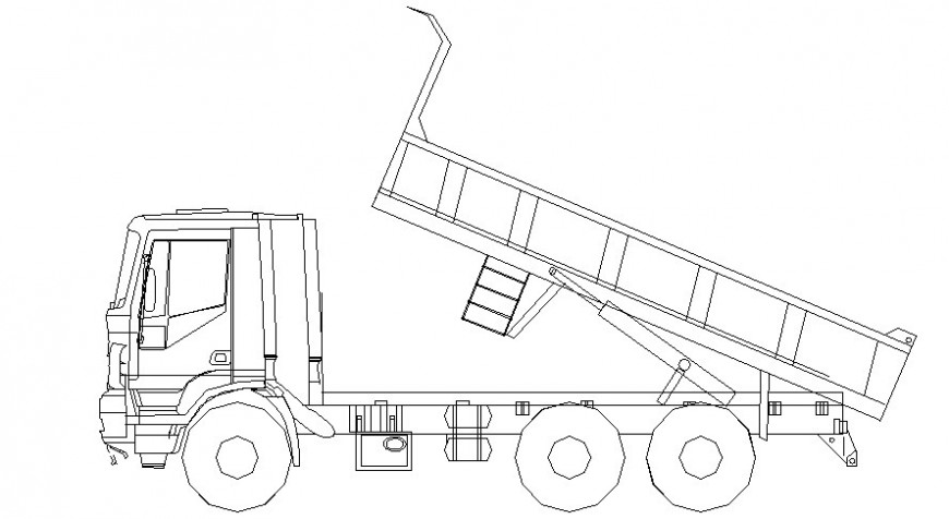 Load transporation truck 2d view drawing in autocad software