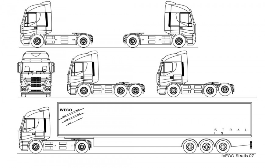 Loading trucks 2D drawing dwg file in Autocad format
