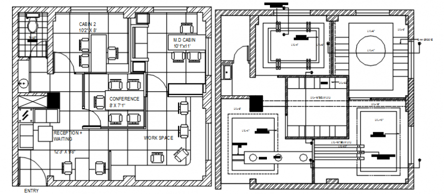 Local area office floor plan distribution plan cad drawing details dwg file