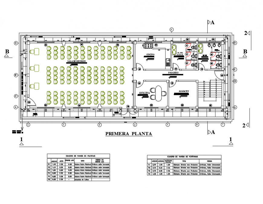 Local communication office first floor layout plan cad drawing details dwg file