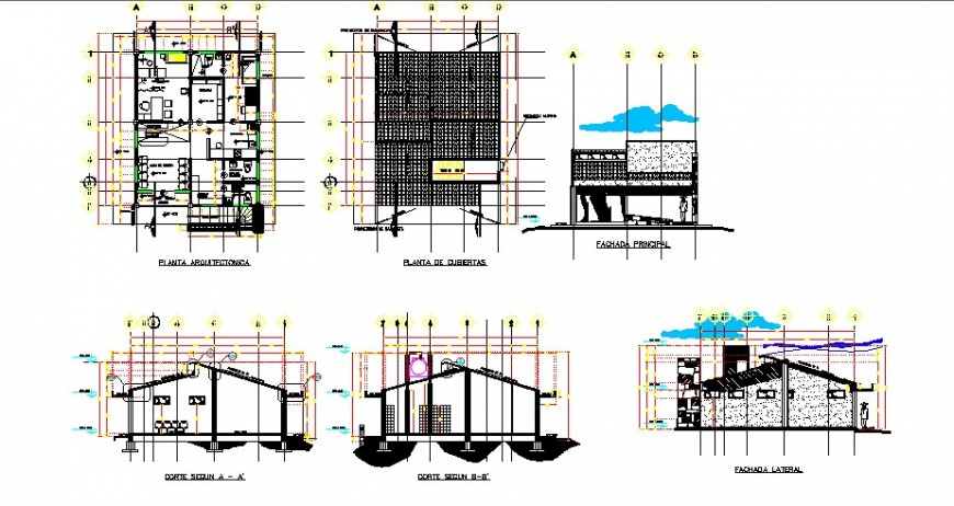 Local hospital elevation, section, plan and auto-cad drawing details dwg file