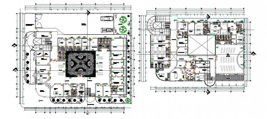 Local hostel building floor plan distribution drawing details dwg file