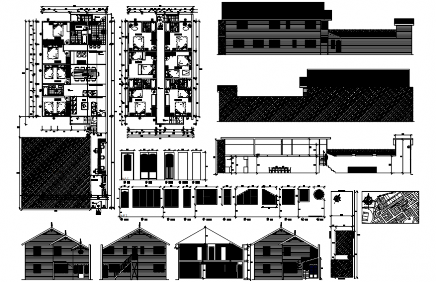 Local hotel building all sided elevation, section and floor plan drawing details dwg file