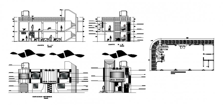 Local hotel building elevation, section and plan cad drawing details dwg file