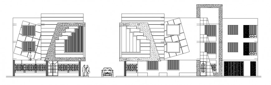 Local hotel building frontal elevations cad drawing details dwg file