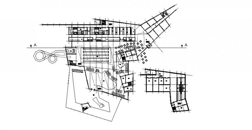 Local hotel building section and distribution plan cad drawing details dwg file
