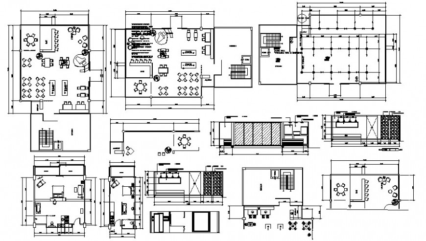 Local hotel departments distribution plan with furniture cad drawing details dwg file