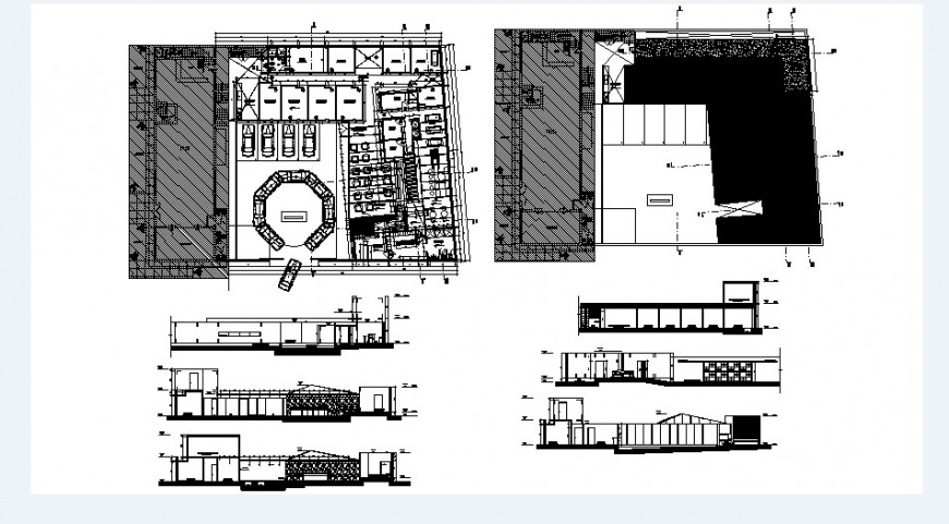 Local hotel with spa center elevation, section and floor plan cad drawing details dwg file