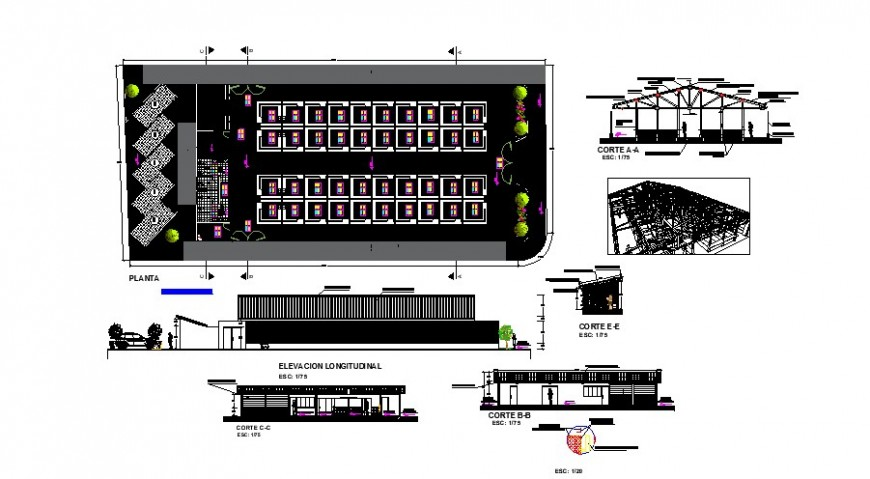 Local market building plan, elevation and section 2d view layout file in autocad format