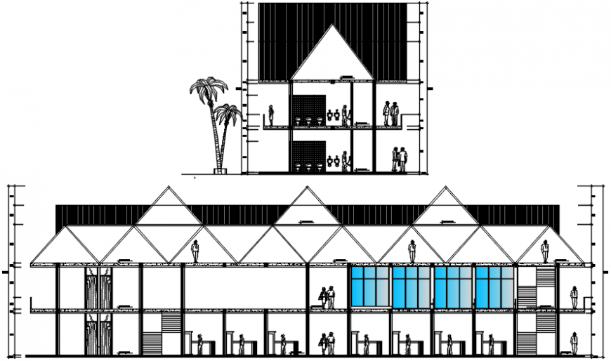 Local market main and side elevation cad drawing details dwg file