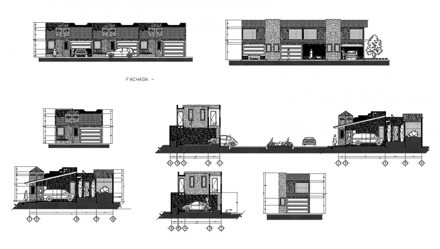 Local motel building all sided elevation and section drawing details dwg file