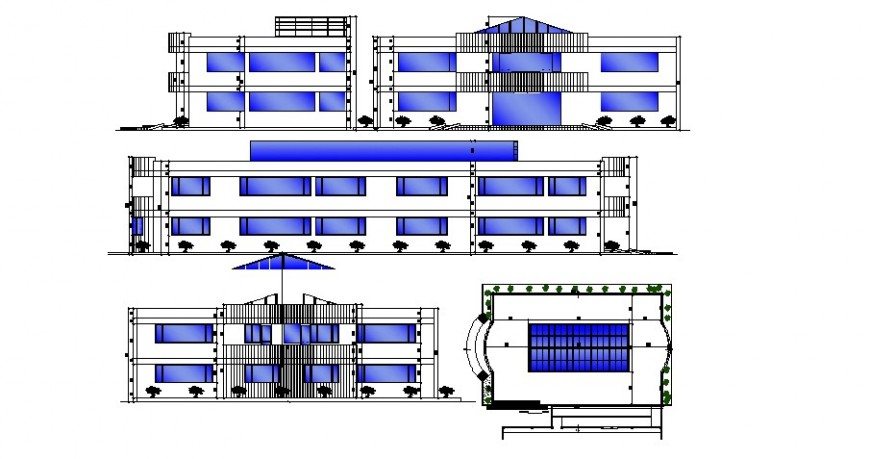 Local multi-story hotel building all sided elevation cad drawing details dwg file