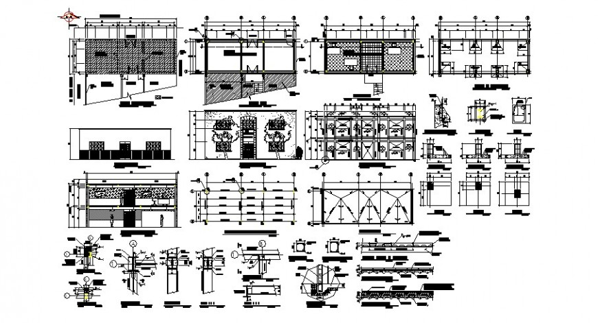 Local office building elevation, section, floor plan and structure details dwg file