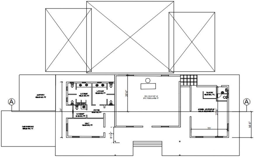 Local office layout plan and structure details dwg file