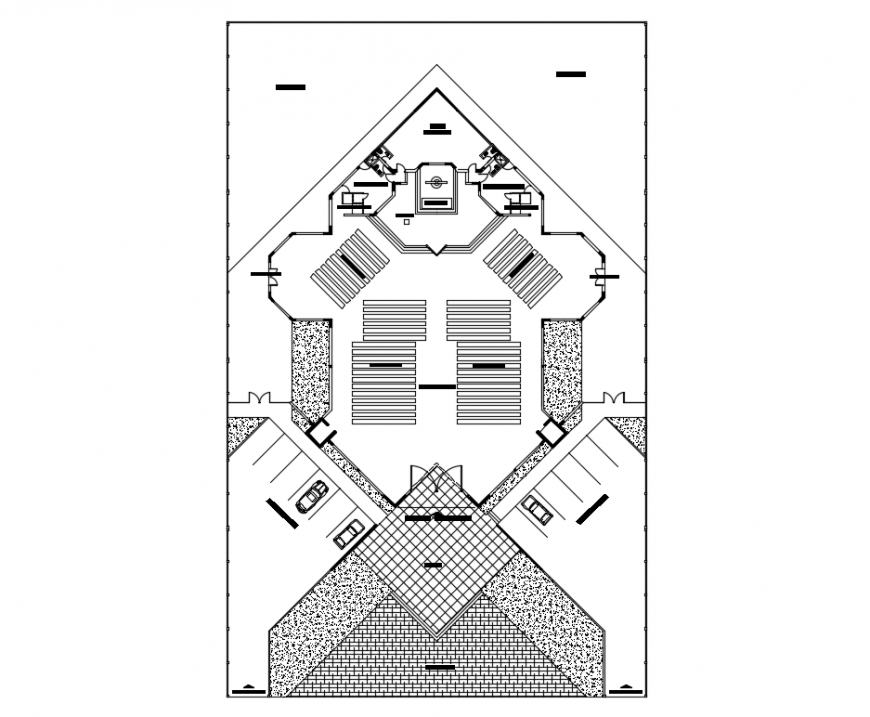 Local religious church top view plan cad drawing details dwg file
