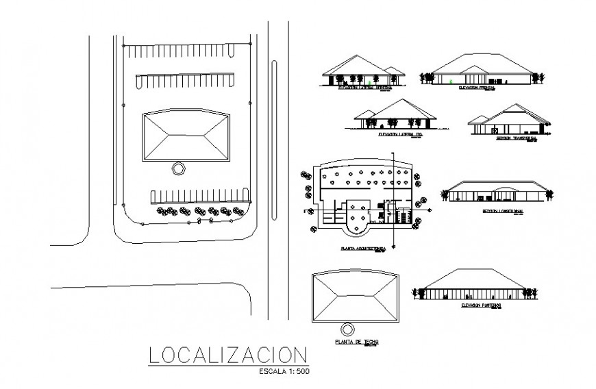 Local restaurant all sided elevation, section and plan drawing details dwg file
