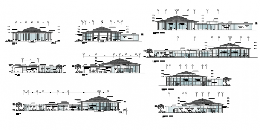 Local restaurant building all sided elevation and section cad drawing details dwg file