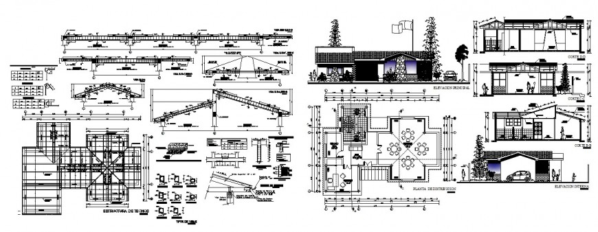 Local restaurant elevation, section, plan and constructive structure cad drawing details dwg file