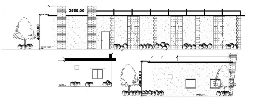 Local restaurant main and all sided elevation cad drawing details dwg file